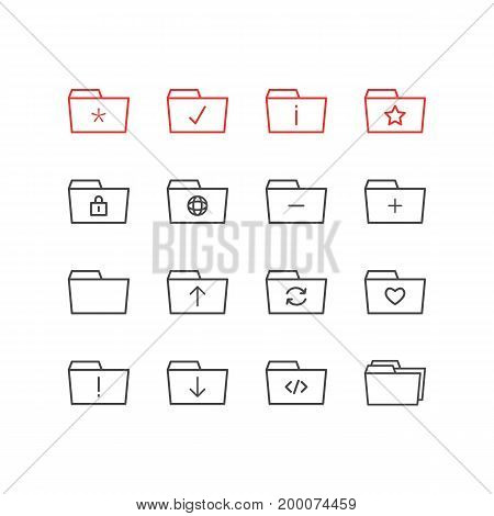 Editable Pack Of Information, Submit, Significant And Other Elements.  Vector Illustration Of 16 Folder Icons.