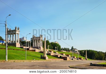 Volgograd Russia the central staircase with steles and columns a summer morning