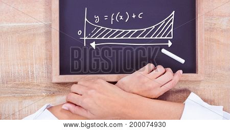 Digital composite of Hands and diagram on blackboard with chalk