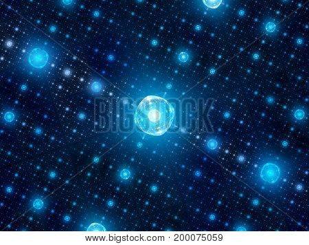 Blue glowing quantum processors in grid network of hubs computer generated abstract background 3D rendering