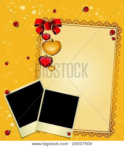 Envelope with an empty photo frame and heart vector