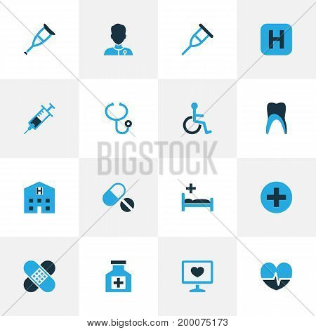 Antibiotic Colorful Icons Set. Collection Of Vaccine, Stethoscope, Tablets And Other Elements
