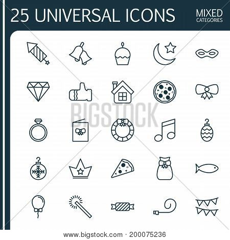 Year Icons Set. Collection Of Brilliant, Crotchets, Celebrate Whistle And Other Elements