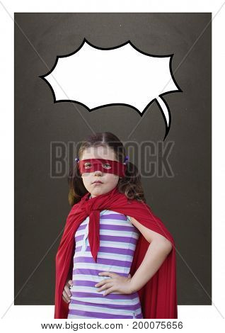 Digital composite of Girl as a superheroine with speech bubble against grey background