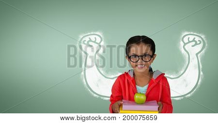 Digital composite of Happy student girl with fists graphic standing against green background
