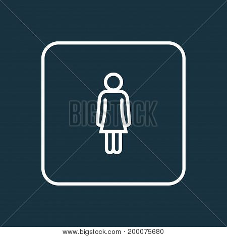 Premium Quality Isolated Female Element In Trendy Style.  Woman Outline Symbol.