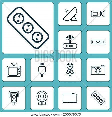 Hardware Icons Set. Collection Of Broadcast, Cctv, Universal Serial Bus And Other Elements