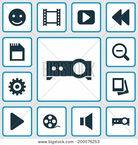 Music Icons Set. Collection Of Silence, Film, Gear And Other Elements