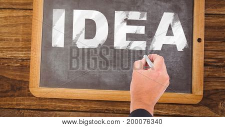 Digital composite of Hand writing idea text on blackboard