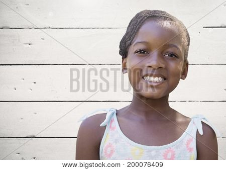 Digital composite of Girl with bright wooden background
