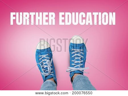 Digital composite of Further Education text and Blue shoes on feet with red background