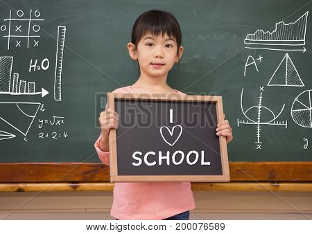 Digital composite of I love school text and little girl with blackboard
