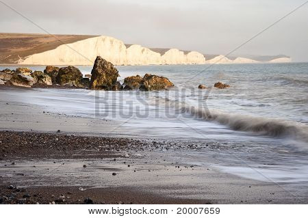 Seascape of waves breaking over rocks