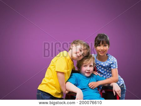Digital composite of Disabled boy in wheelchair with friends with purple background