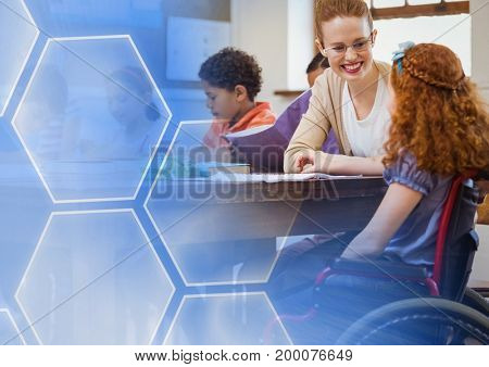 Digital composite of School teacher with disabled student in wheelchair in class