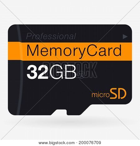 Top View Of Micro Sd. Memory Card Isolated On White Background