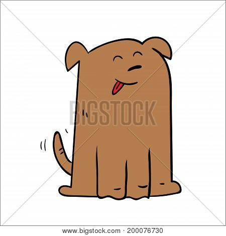 Happy Dog cartoon. Vector illustration. On white background isolated.