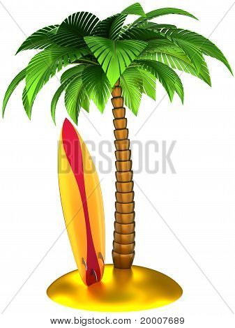 Surfboard and palm tree on the beach