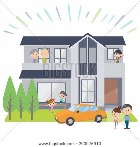 family 3 generations house Viewing  design template illustration