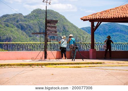 Tourists in Vinales valley Pinar del Rio Cuba. Copy space for text