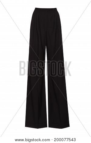 black womens wide leg pants isolated on white background