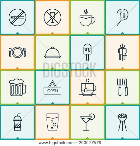 Eating Icons Set. Collection Of Tea, Ale, Board And Other Elements