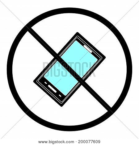 No call sign. Isolated on white background. No telephone symbol on white mark. No telephone ban sign picture. Red sticker vector illustration. Flat vector image. Vector illustration.