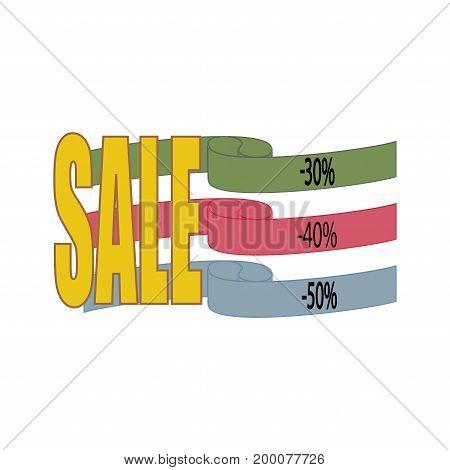 SALE banner. Large banner for advertising. Set colorful ribbon on white background. Offer discount on sale on market. Selling offer. Big banner for advertising. Design element. Vector illustration