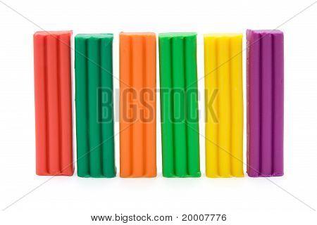 colorful plasticine bricks.