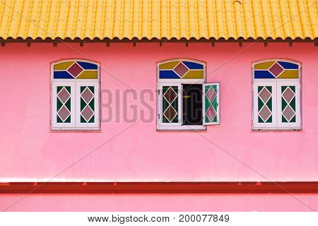 View of the facade of the building Vinales Pinar del Rio Cuba. Close-up