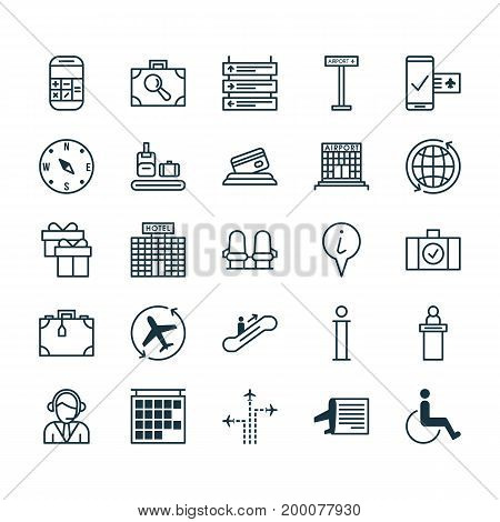 Airport Icons Set. Collection Of Locate, Present, Accessibility And Other Elements