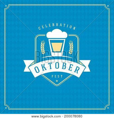 Oktoberfest beer festival celebration vintage greeting card or poster and blue checkered background vector illustration.