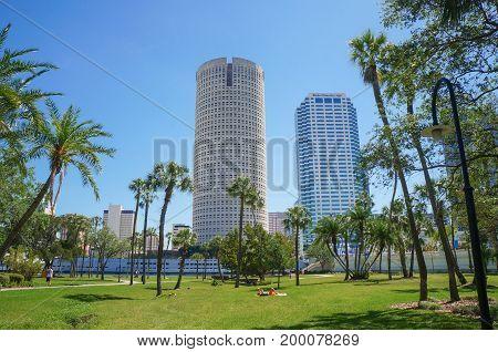 People walking, enjoying Henry B. Plant Park, University of Tampa, Tampa, Florida, United States, April 28, 2017