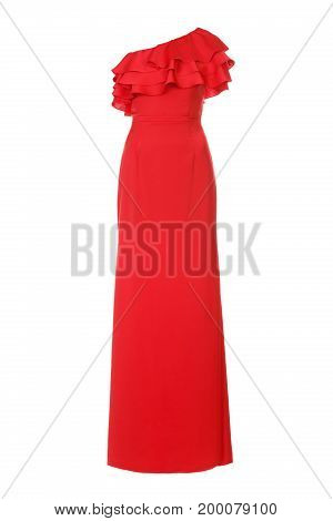 Red long evening dress on white background