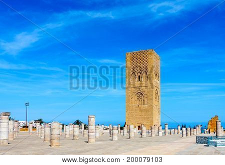 Hassan Tower the minaret of an incomplete mosque in Rabat Morocco.