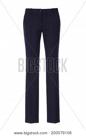 Blue women's classic pants isolated on white background