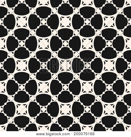 Subtle vector seamless pattern, minimalist geometric texture, circular grid thin intersecting lines. Dark monochrome illustration of mesh. Simple abstract background. Design for decor, prints, covers. Ornamental pattern.