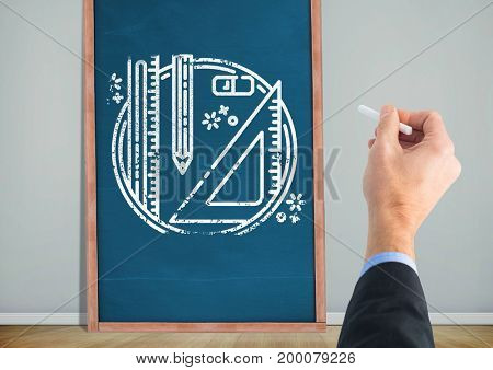 Digital composite of Hand drawings stationery on blackboard
