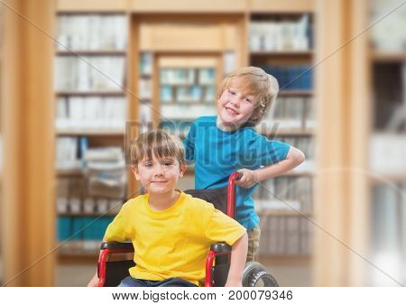 Digital composite of Disabled boy in wheelchair with friend in school library