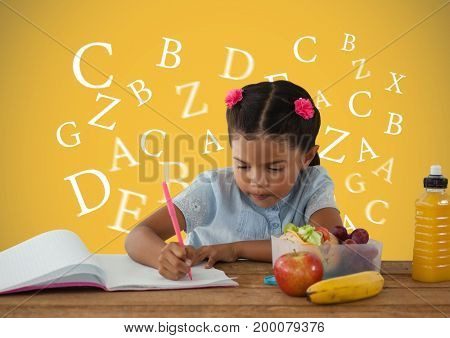 Digital composite of Many letters around Schoolgirl writing with healthy lunch