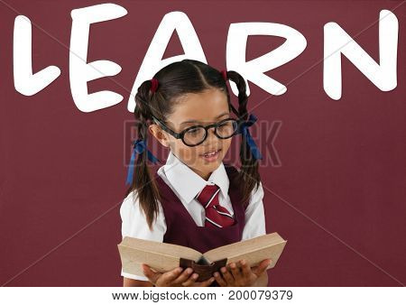 Digital composite of Student girl at table against red blackboard with learn text