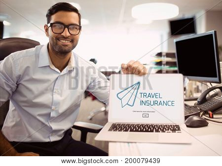 Digital composite of Man holding a computer with travel insurance concept on screen