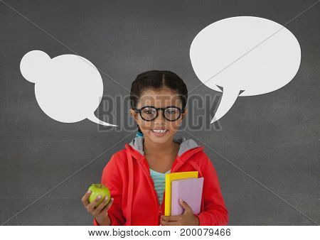 Digital composite of Student girl with speech bubbles standing against grey background