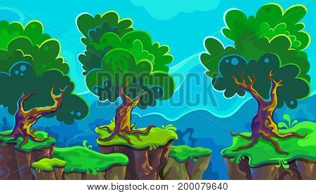 Vector cartoon illustration of landscape, possible to use for the game, banner, videos or web graphic design, user interface, card, poster.