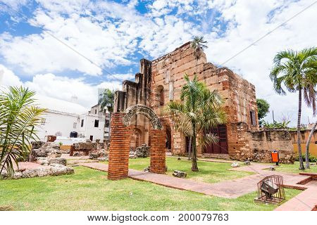 View On Ruins Of The Hospital Of St. Nicolas Of Bari, Santo Domingo, Dominican Republic. Copy Space