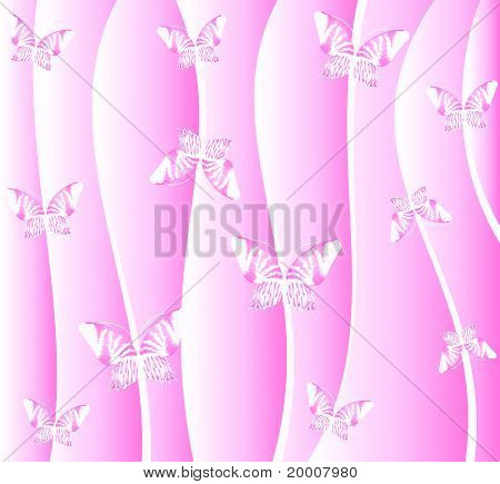 Green background with butterflies. Vector