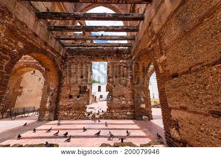 View on Ruins of the Hospital of St. Nicolas of Bari Santo Domingo Dominican Republic. Copy space for text
