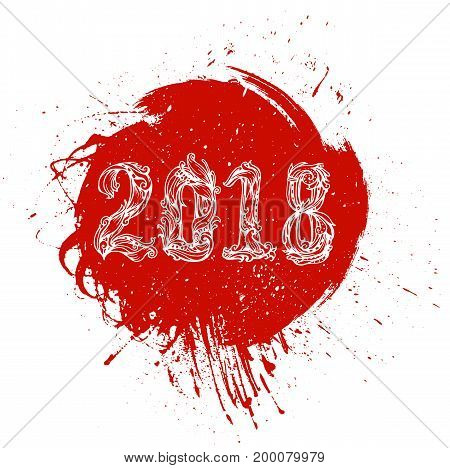 Red xmas round banner vector painted element for christmas design. The figures 2018 New Year. Festive illustration vector calligraphic lettering numbers for cards and other design