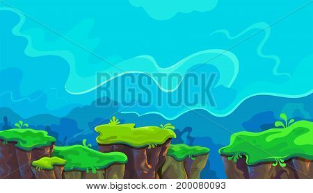 Vector cartoon landscape with separate islands of the earth, possible to use for the game, banner, videos or web graphic design, user interface, card, poster.