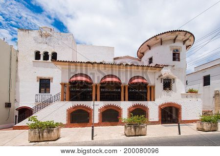 View of the old building Santo Domingo Dominican Republic. Copy space for text